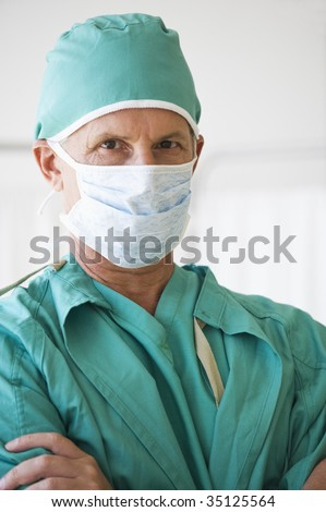 Close Up of Doctor With Mask On - stock photo