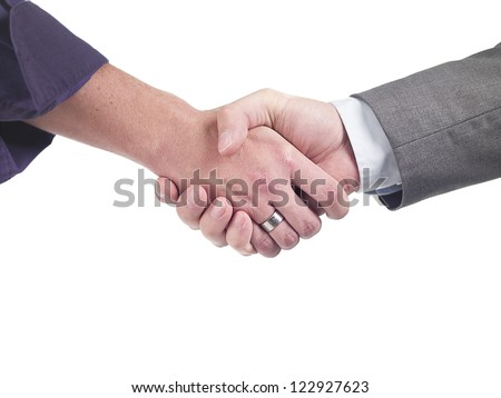 Close-up of doctors greeting each other on success over white background - stock photo