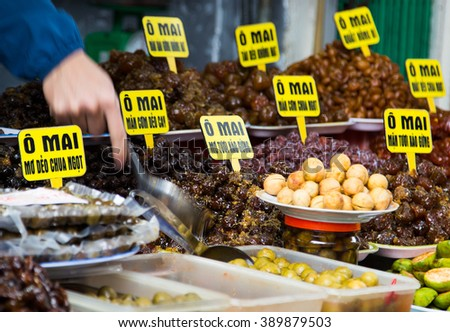 Close up of dried and sweeten tropical fruits for sale in Hanoi, Vietnam - stock photo