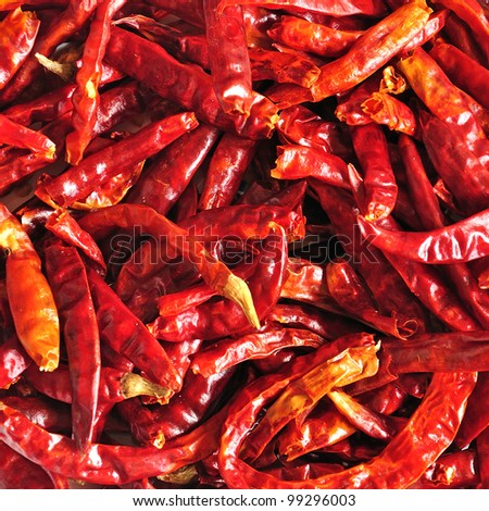 Close up of dried chilli, food ingredient - stock photo