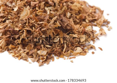 Close up of dried pipe tobacco isolated on white - stock photo