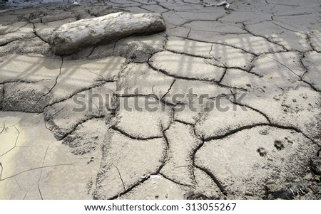 Close up of  dry cracked earth texture - stock photo