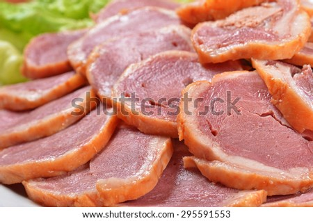 Close up of  duck meat rolls       - stock photo