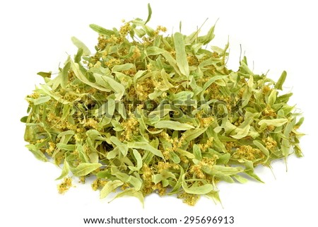 Close-up Of Eastern Europe Linden Tree Leafs, Blossom And Fruits Isolated On White Background. Ingredient For Traditional Caffeine-free Green Tee Named As Tilleul - stock photo