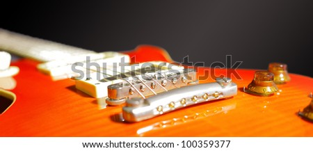 Close-up of electric guitar - stock photo