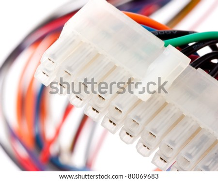 Close-up of electrical plug with colorful cables. Isolated on white - stock photo