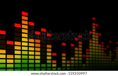 Close-up of electronic music equalizer bars, representing music, beat or sound. On a black background. - stock photo