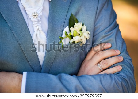 close-up of elegance male hands. man dressed in blue suit and white shirt standing over green nature background. groom in wedding day - stock photo