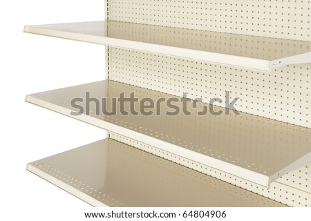 Close-up of empty retail store shelf shot in studio and silhouetted - stock photo