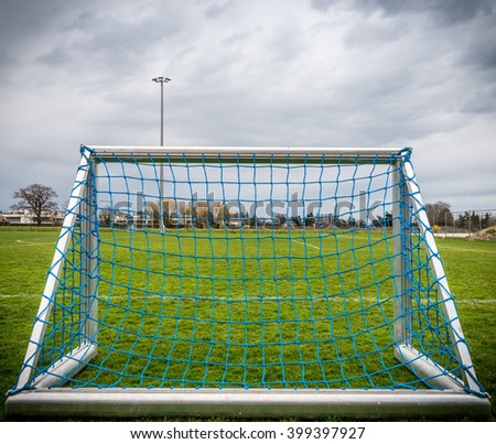 Close up of empty small football goal - stock photo