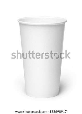 Close-up of empty white cup on white background. Studio shot with clipping path. - stock photo