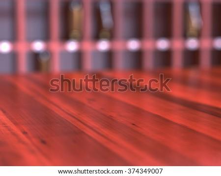 Close up of empty wooden reception desk. Soft focus illustration - stock photo