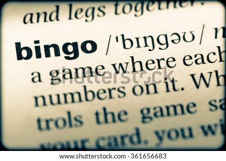 Close up of English dictionary page with word bingo - stock photo