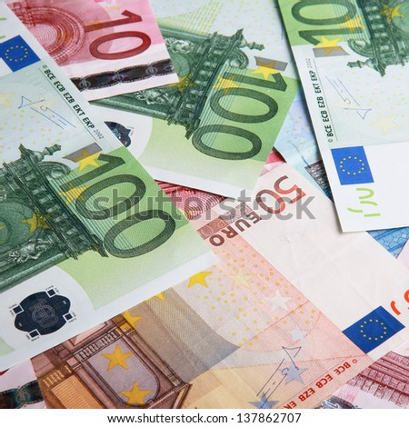 Close-up of Euro banknotes - stock photo