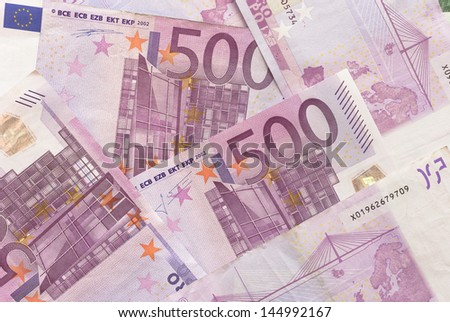 Close-up of Euro Bills Horizontal Background Photo - stock photo