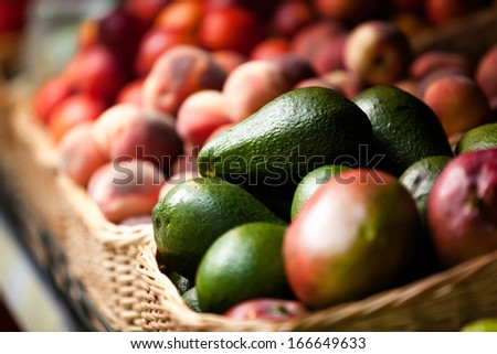 Close up of exotic fruits in the market. Concept of healthy food - stock photo