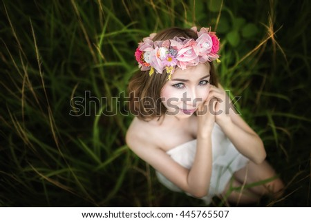 close up of face of beautiful young woman. selective focus to eye. - stock photo