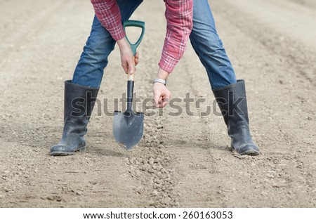 Close up of farmer's hands holding seed and shovel on soil - stock photo