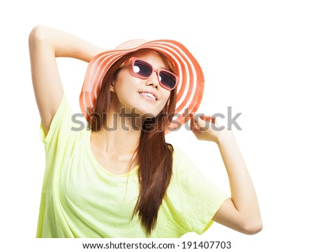 close-up of fashionable young woman  - stock photo
