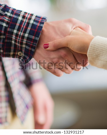 Close-up Of Female And Male Shaking Hand, Indoors - stock photo