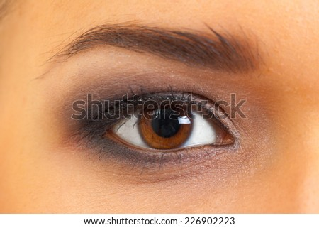 Close-up of female brown eye with make-up - stock photo
