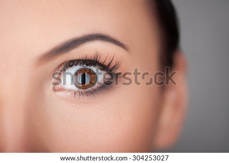 Close up of female eye. The cheerful girl is expressing her surprise. Her eye is wide open. Isolated and copy space in right side - stock photo