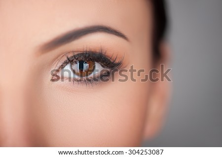 Close up of female eye. The lady is looking at the camera with desire. Isolated and copy space in right side - stock photo