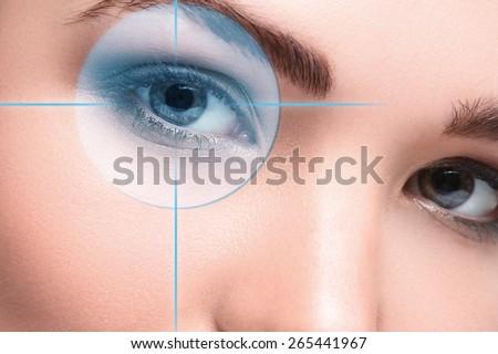 Close up of female eyes. Eyesight concept - stock photo