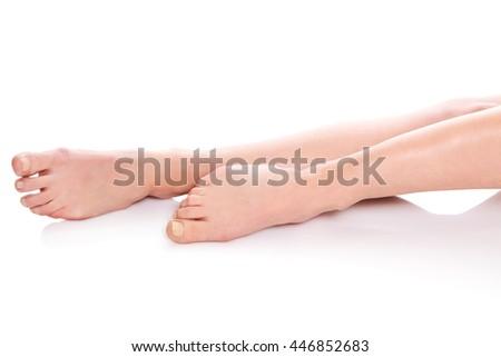 Close up of female feet. - stock photo