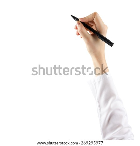 Close up of female hand is ready for drawing with black pen. Isolated on white background. - stock photo