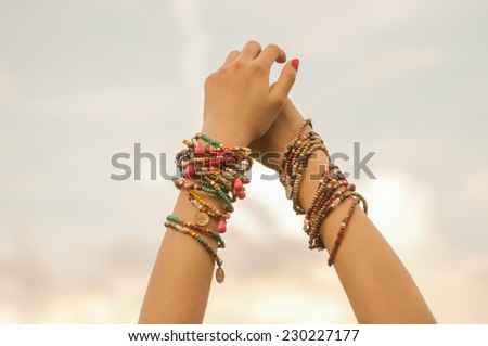 Close up of female hands - stock photo