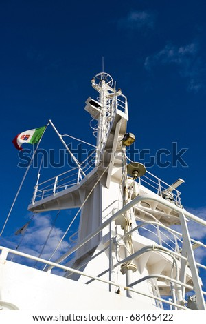 close up of ferry in the dock - stock photo