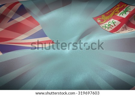 Close-up of Fiji flag against linear design - stock photo