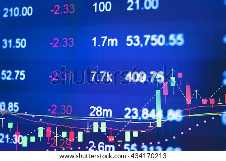 Close up of finance business graph which including of Up Trend and down down. Business to grow in the active high trend and low trend. Growing business graph with rising up trend.  - stock photo