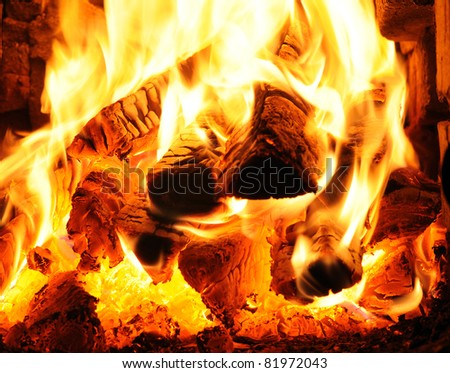 Close-up of fireplace - stock photo