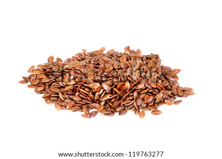 close up of flax seeds  isolated on  white background - stock photo