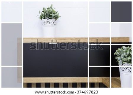 Close-up of flower pots in modern interior - stock photo
