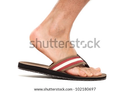 Close up of foot in flip flop - right foot - stock photo