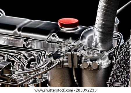 Close up of fragment of automobile engine, artistic imege technique - stock photo