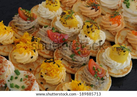 close up of French assortment of petits fours - stock photo