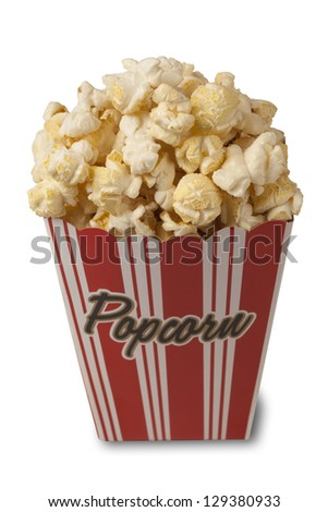 Close up of fresh popcorn isolated on white background with soft shadow. Clipping path included. - stock photo