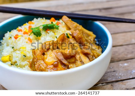 Close up of Fried rice with teriyaki chicken - stock photo