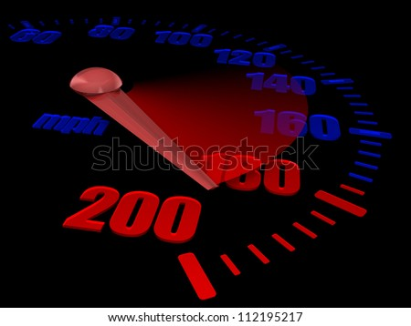 Close-up of full auto speedometer with mph - stock photo