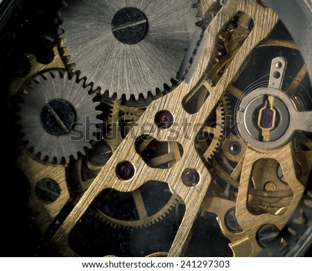 close up of gears - stock photo
