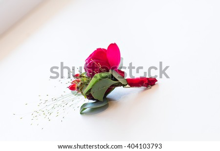 close-up of  Gentle groom's boutonniere  - stock photo