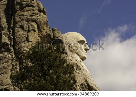 Close up of George Washington on Mount Rushmore - stock photo