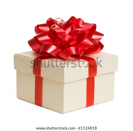 Close up of gift box with red bow isolated on white background. - stock photo