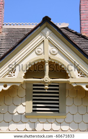 Close up of Gingerbread detail on an old house. - stock photo