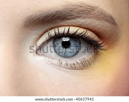 close-up of girl's eye zone make-up - stock photo
