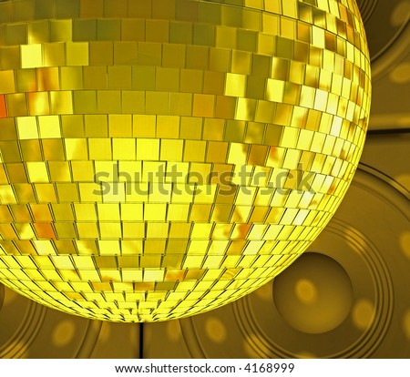 close-up of golden mirrorball - stock photo